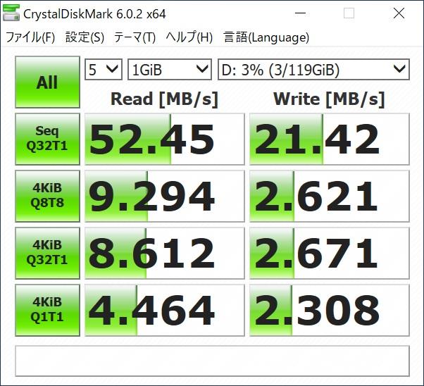 31aeb52753 4Kの転送速度はMicroSDとしてはそれなりに出ていますが、シーケンシャルの数値は公称値に全く届きません。  別のPCでUSB3.0接続のカードリーダーで試したところ、公称値 ...